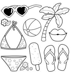 Summer vacation design elements vector