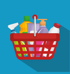 Supermarket products in shopping basket vector