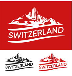 Switzerland blazon white red and black color vector