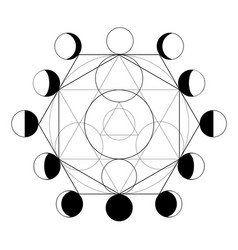 Symbol alchemy and moon phases vector