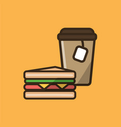 tea drink in paper cup with classical sandwich vector image
