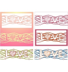 The word love in design background Set of 6 cards vector image