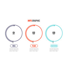 thin line infographic elements 3 step vector image