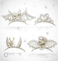 Tiaras with hearts for carnival costume vector image