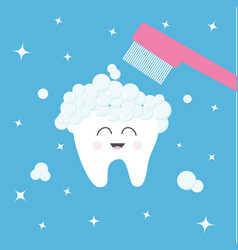 Tooth icon toothbrush with toothpaste bubble foam vector