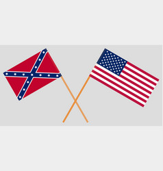 usa north and south union and confederate flags vector image