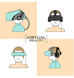 virtual reality headset icon flat design line vector image