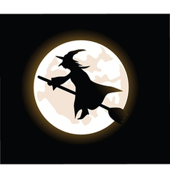 Witch riding broom vector image