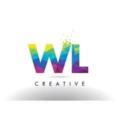 Wl w l colorful letter origami triangles design vector