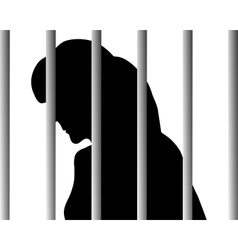 Woman behind bars vector