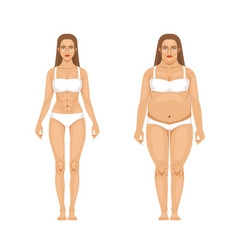 woman weight loss with sport and diet vector image