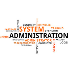 word cloud - system administration vector image