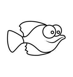 monochrome silhouette of small fish with big eyes vector image vector image
