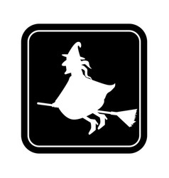 monochrome square silhouette with witch vector image