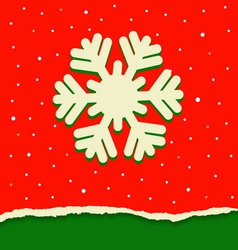 Red and green torn paper background with snowflake vector image vector image