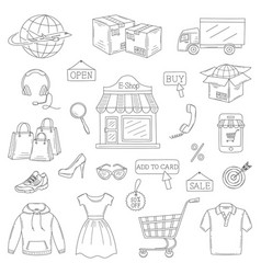 set of hand drawn online shopping icons vector image vector image