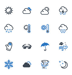 Weather icons - blue series vector
