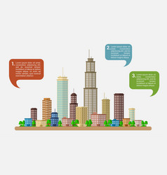 big city with speech bubbles vector image