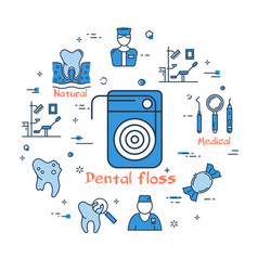 blue round banner - dental floss health care vector image