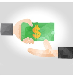Hand handing over money to another hand vector image vector image