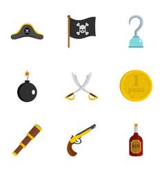 pirates element icon set flat style vector image
