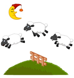Three Funny Sheep Jumping Over A Fence vector image vector image