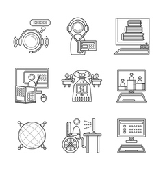 Distance education thin line icons vector image vector image
