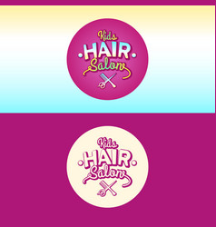 the logo and the of children hair salon vector image