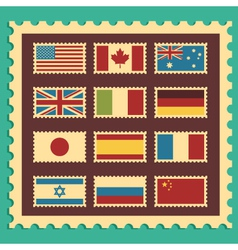 Vintage Stamps Representing World Flags vector image vector image