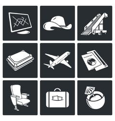 Avia Air flights icon set vector image