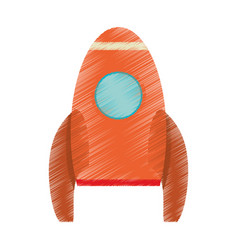 drawing orange rocket space travel vector image