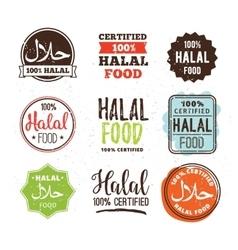 Halal food labels set Badges design vector image