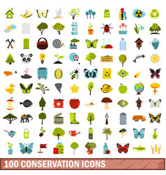 100 conservation icons set flat style vector