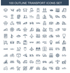 100 transport icons vector image