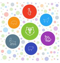 7 mammal icons vector image