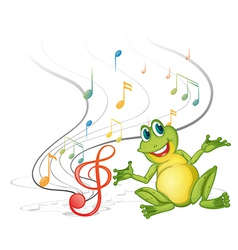 A frog with musical notes vector