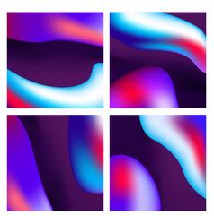 a set trendy liquid backgrounds dark violet vector image