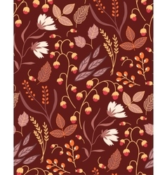 Autumn floral seamless pattern Fall autumn leaves vector