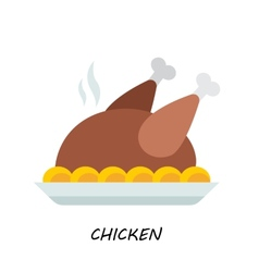 Baked chicken turkey flat style vector image