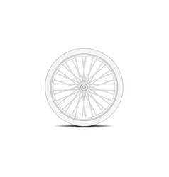 Bicycle wheel in white design with shadow vector