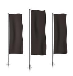 black vertical banner flag templates vector image