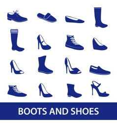 boots and shoes icons eps10 vector image