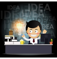 businessman working on computer with idea bulb vector image