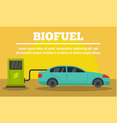 car at biofuel station concept banner flat style vector image