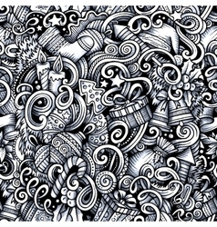 Cartoon doodles New Year season trace seamless vector