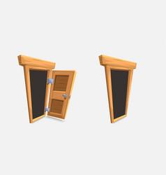 cartoon wooden doors set on white vector image