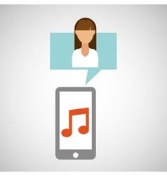 character white shirt smartphone music application vector image