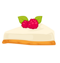 cheesecake with biscuit and raspberry berry on top vector image