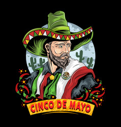 cinco de mayo mexican with mexico flag vector image