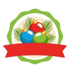 Circle Christmas Label Icon Flat with Balls and vector